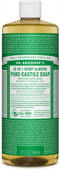 Dr. Bronner's Organic Pure-Castile Soap, 18-in-1 Hemp Almond