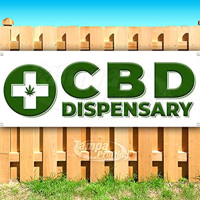 "CBD Dispensary 13 oz Heavy Duty Vinyl Banner Sign with Metal Grommets, New, Store, Advertising, Flag, (Many Sizes Available) 24"" x 64"""