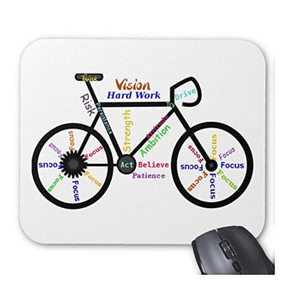 1 X URDesigner Motivational Cycling Words Mousepad - Support For Wireless Mouse Durable Optical Mouse for Office or Home Use