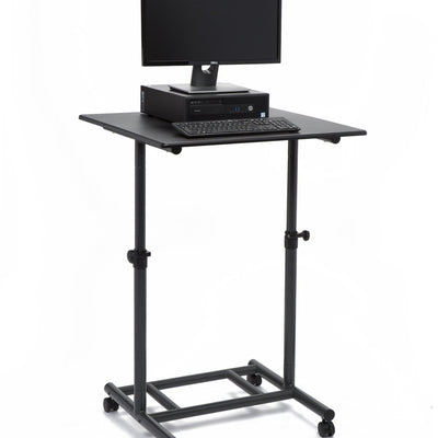 "Audio-Visual Direct Ergonomic Adjustable Standing Desk - 31.5"" Wide Single Top - with Lockable Wheels and Easy Adjust Knobs Single Top - Small"