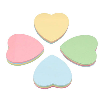 Heart Shaped Sticky Notes, Cute Fun Heart Sticky Note Self Stick Self-Adhesive Notes Notepads Posted Writing Pads Stickers Paper (4 Pads, Heart)