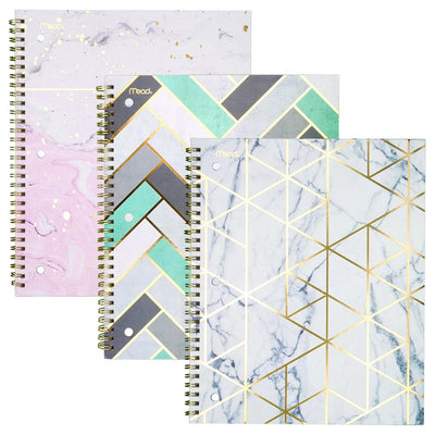 Mead Spiral Notebooks, 1 Subject, College Ruled Paper, 80 Sheets, Modern Chic, 3 Pack (38196) Pack of 3