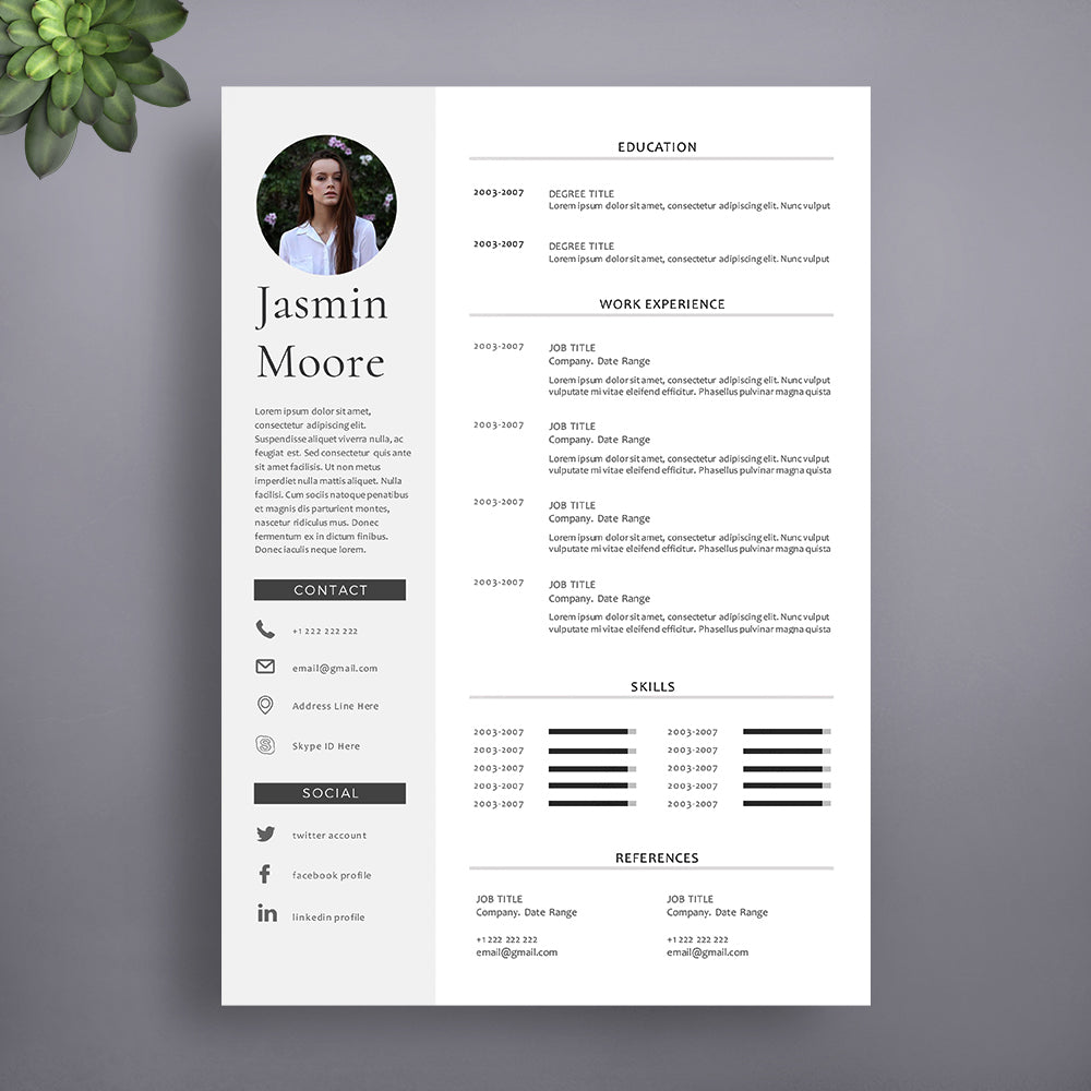 1 Page Professional CV Template. Instant Download - cvtemplatestore ...