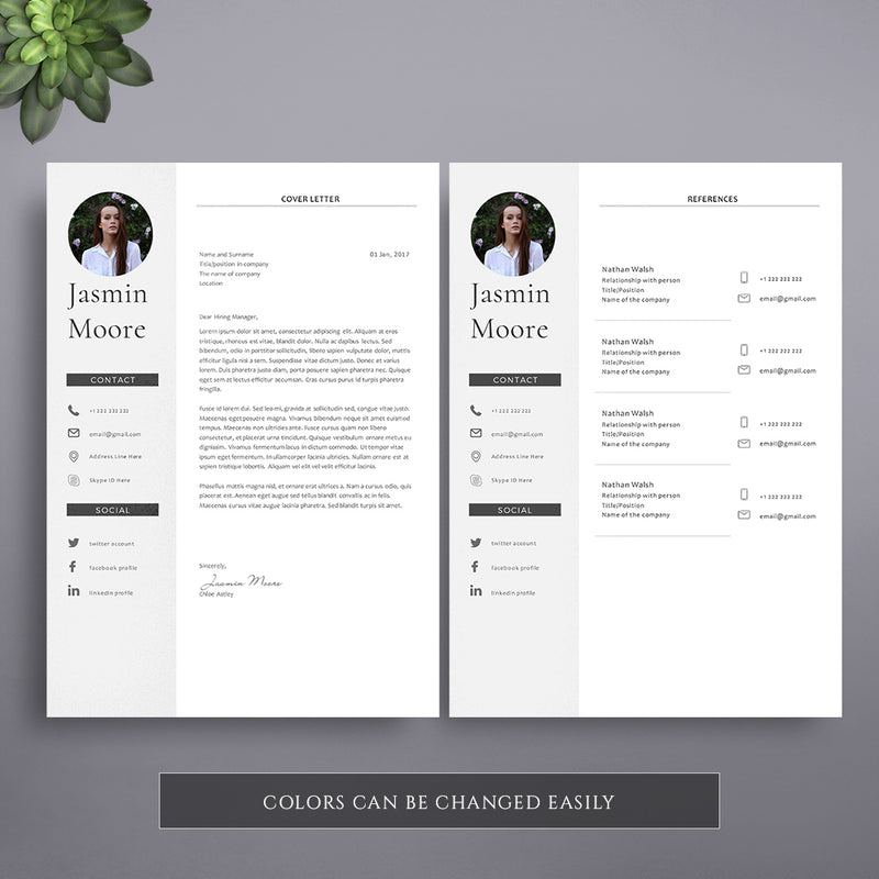 1 page professional cv template  instant download