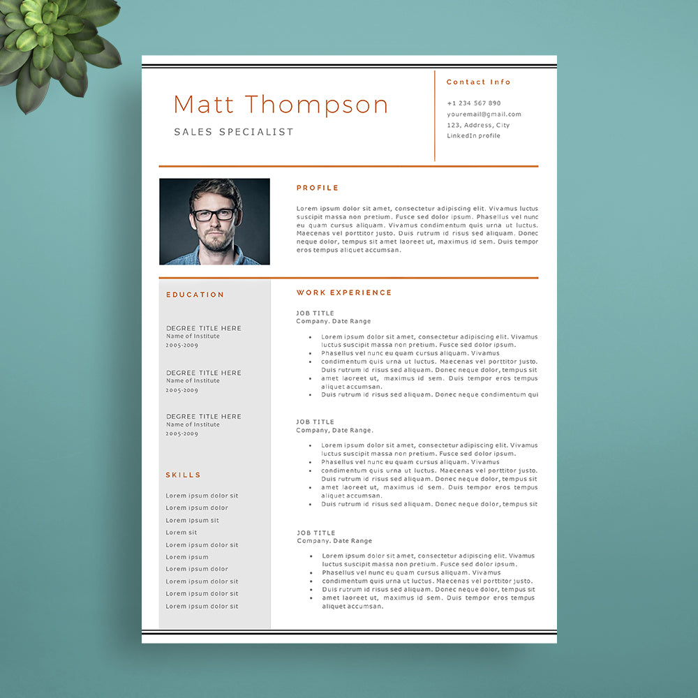 professional cv template cover letter template references