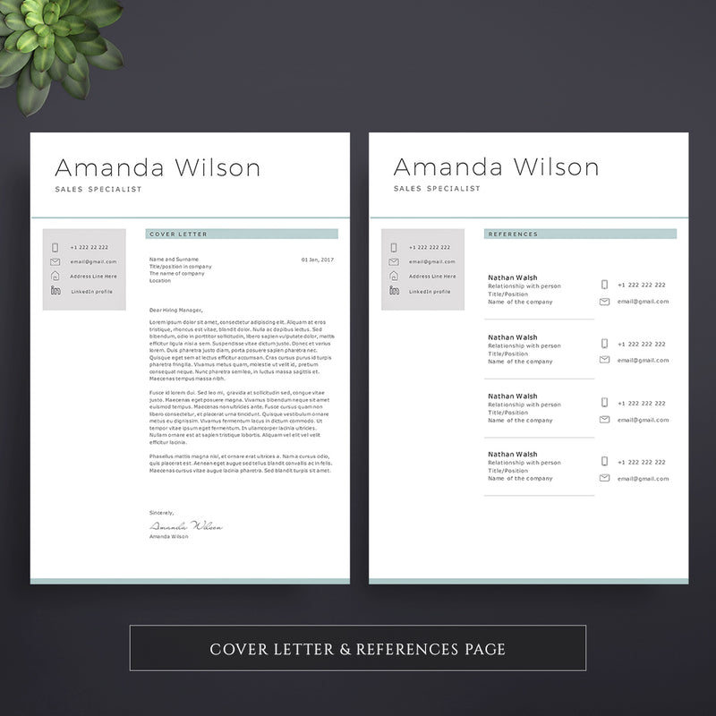 CV Template + Cover Letter Template. Clean and Distinct ...