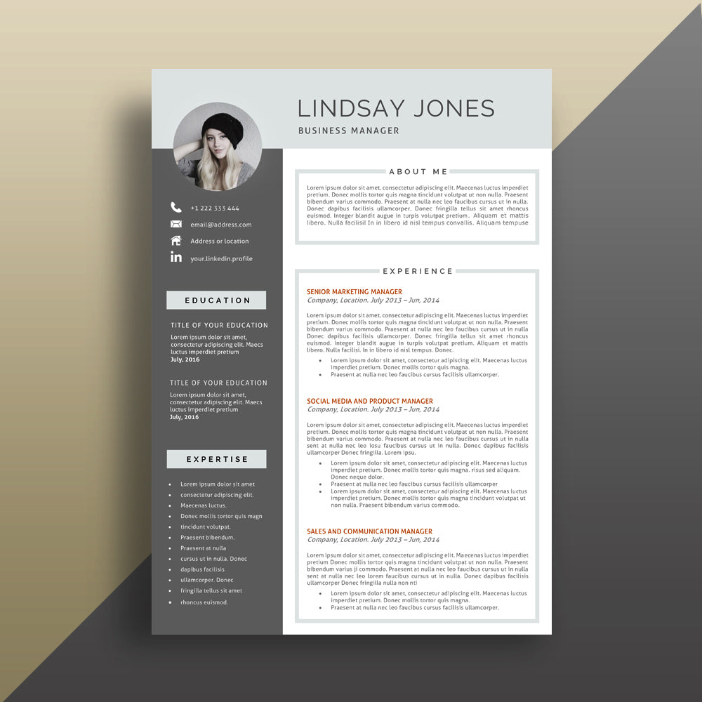 1 page professional cv template instant download cvtemplatestore