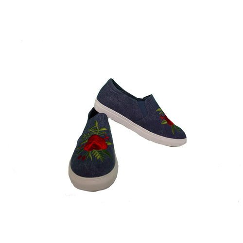 Slip Ons - Blue Denim/Rose Print