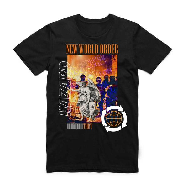 NEW WORLD TEE BLK/ORG