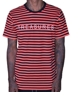 HIDDEN TREASURE STRIPED TEE ROBIN RED