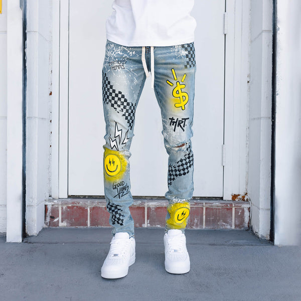 GOOD VIBES YELLOW DENIM