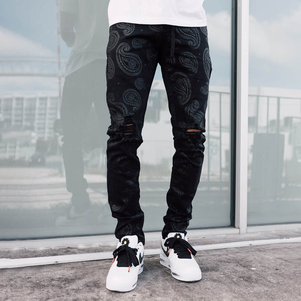 JET BLACK PAISLEY DENIM