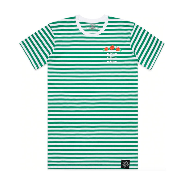 3 AK Rose Seal Stripe Tee Green / White