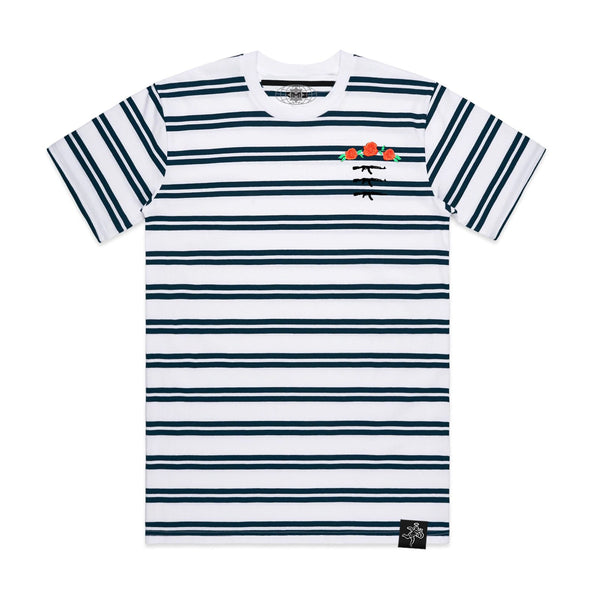 3 AK Rose Seal Stripe Tee White / Navy