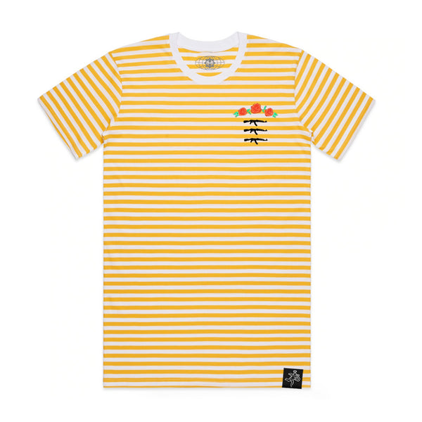 3 AK Rose Seal Stripe Tee Yellow / White