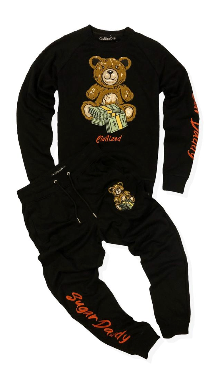 Sugar Daddy Money Bear Crew Neck Sweater & Pants Set Black