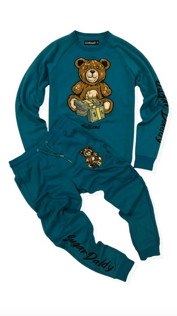 Sugar Daddy Money Bear Crew Neck Sweater & Pants Set Teal
