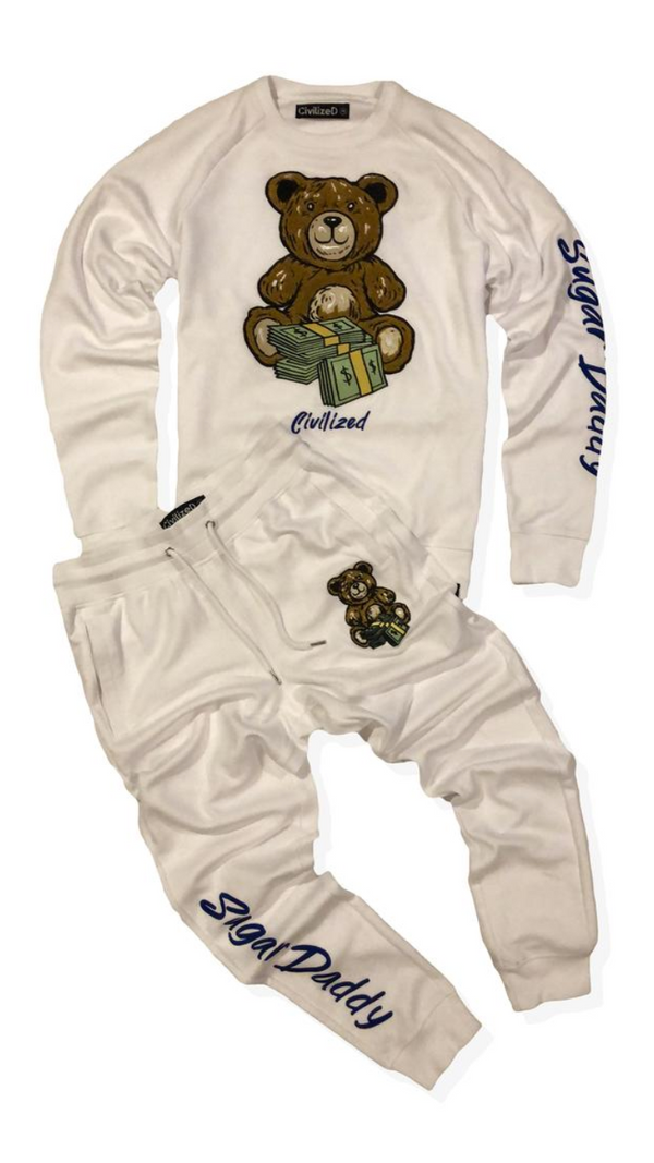 Sugar Daddy Money  Bear Crew Neck & Pants Set White