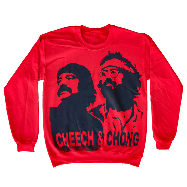 CHEECH & CHONG STENCIL CREW NECK RED