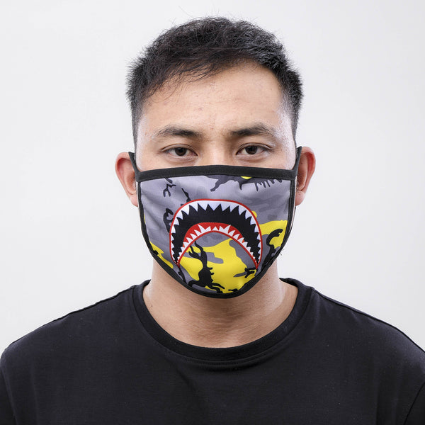 SHARK MOUTH FACE MASK YLW