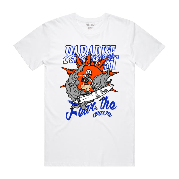 FEAR THE WAVE TEE WHT/ORG/RYL