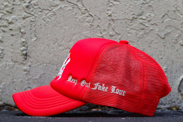 NYC LOVE RED TRUCKER HAT
