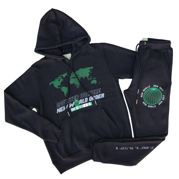 NEW WORLD ORDER BLK/GRN SWEATSUIT
