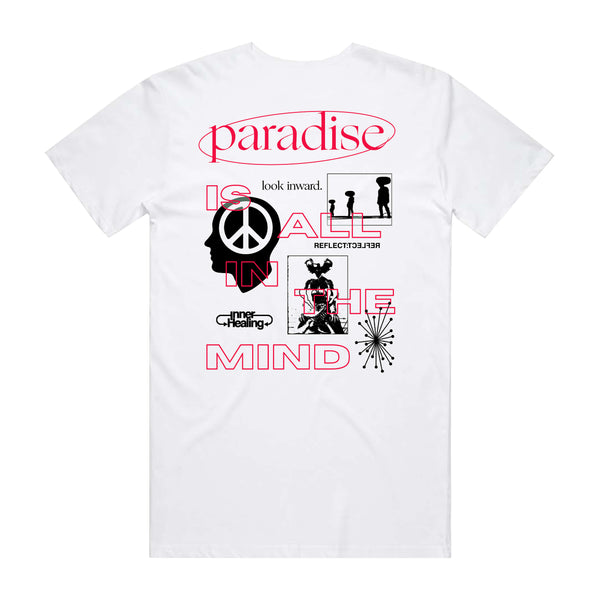 PEACE TEE WHT/BLK/RED