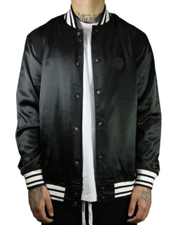 SRVL Satin Baseball Jacket Black