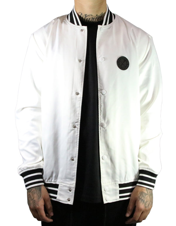 SRVL Satin Baseball Jacket White