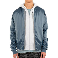 SATIN ESSENTIAL BOMBER BLU