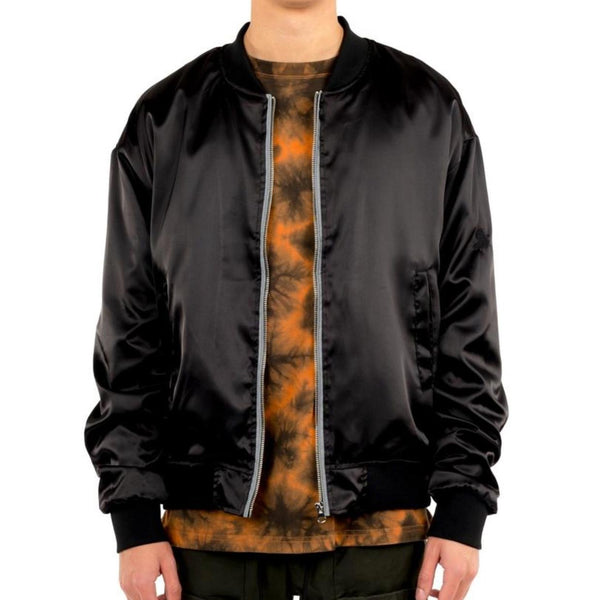 SATIN ESSENTIAL BOMBER BLK