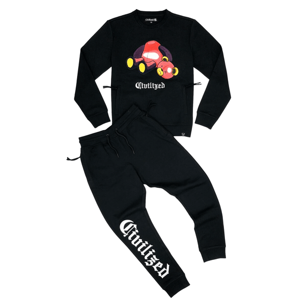 CIVILIZED BEAR CREWNECK JOGGER SET BLK