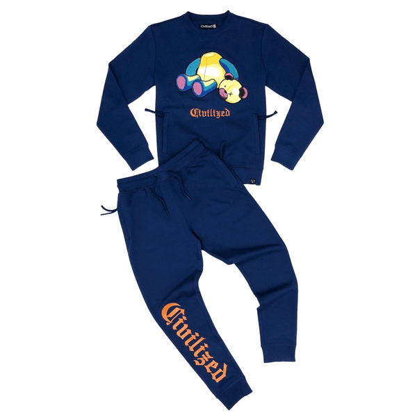 CIVILIZED BEAR CREWNECK JOGGER SET DARK ROYAL