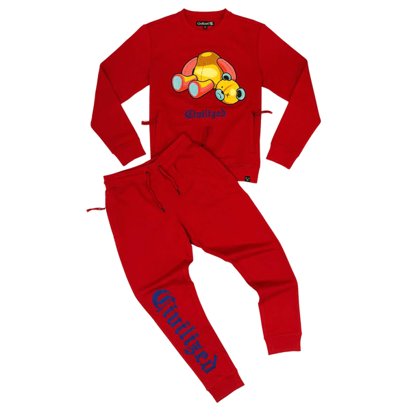 CIVILIZED BEAR CREWNECK JOGGER SET RED