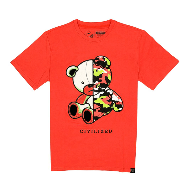 CIVILIZED CAMO BEAR TEE CORAL
