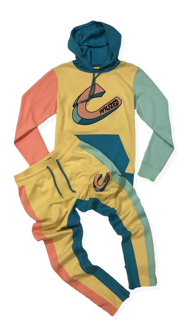 Exclusive C Logo Color Block Hoody & Pants Set Pale Yellow
