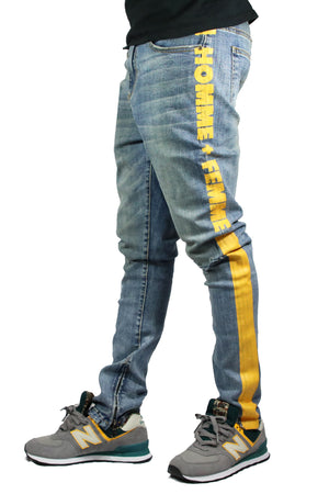 Striped Logo Denim Blue/Yellow Stripe