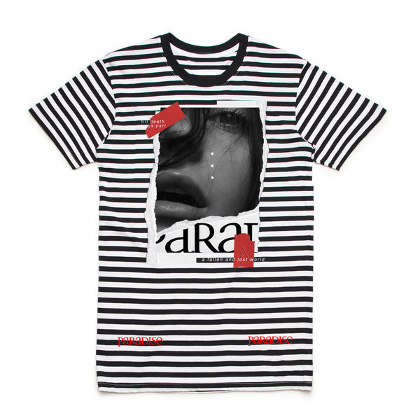 TILL DEATH STRIPED TEE BLK/WHT/RED