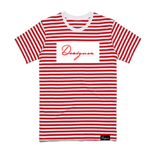 DESIGNER STRIPED TEE RED
