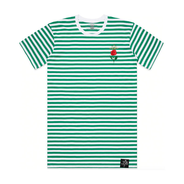Embroidered Rose Stripe Tee Green / White
