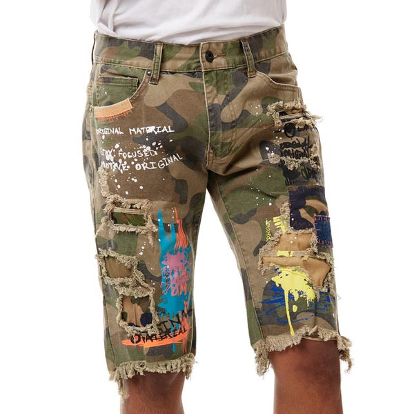 FASHION GRAFFITI DENIM SHORTS WOOD CAMO