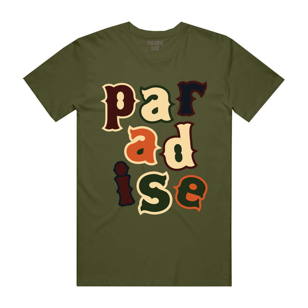 PARADISE LETTERS TEE OLIVE
