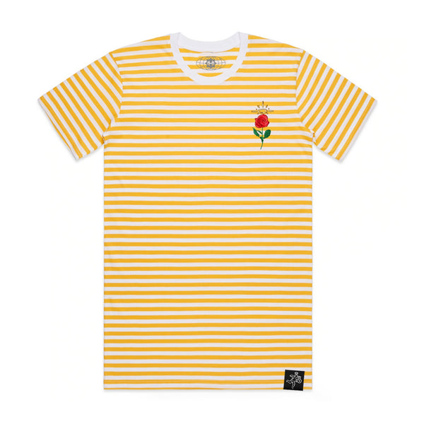 Embroidered Rose Stripe Tee Yellow / White
