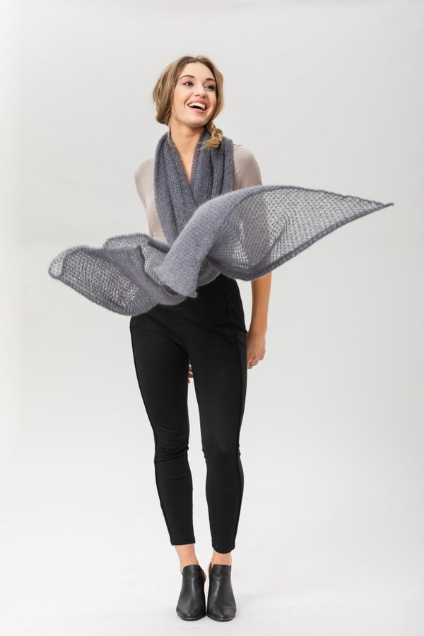 Fly With Me Shawl - Smoke