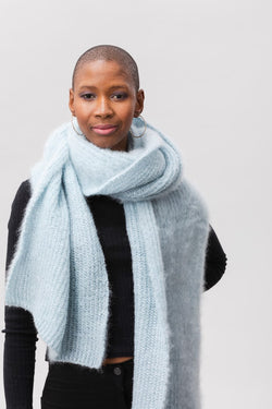 Ooh La La Scarf - Washed Denim & Silver Lurex