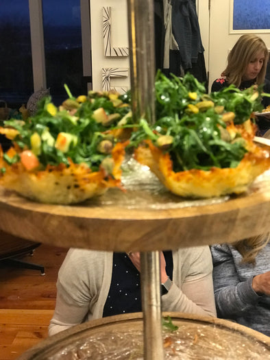Arugula, Apple, and Pistachio Salad in Parmigiano Cups