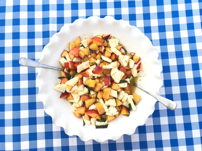 Peach and Mozzarella Salad with Orange, Basil and Poppy Seed Dressing
