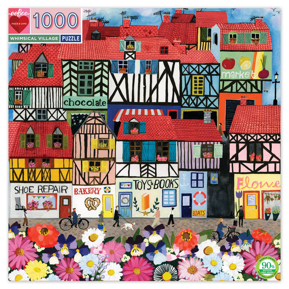 EEBOO Whimsical Village 1000 Piece Puzzle