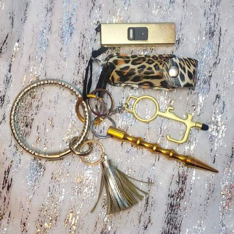 Gold Leopard Keychain Bangle Set
